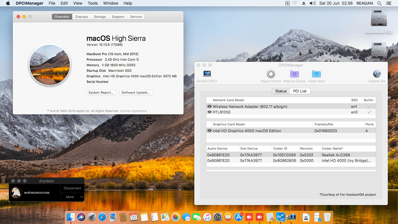 Success Hackintosh macOS High Sierra 10.13.6 Build 17G66 at Lenovo Ideapad Z400 Touch